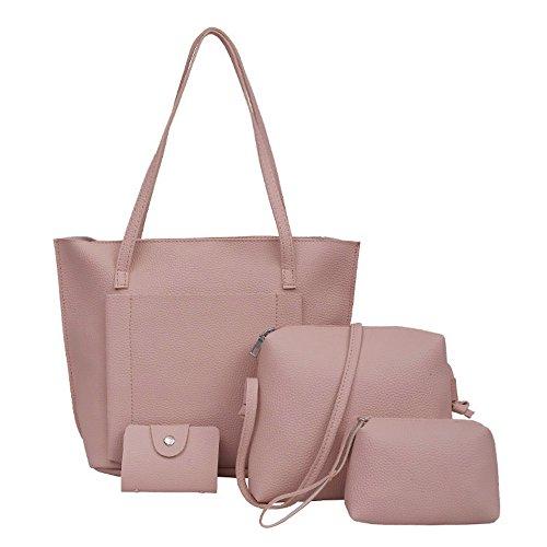Kordelzug Cross-body-tasche (Tasche Bags Loveso Damen Mode 4 Teiliges Handtaschen Set im Vintage Style Leder Henkeltasche Crossbody Tasche Handgelenktasche (Rosa))