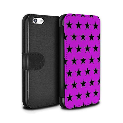 Stuff4 Coque/Etui/Housse Cuir PU Case/Cover pour Apple iPhone 5C / Vert Design / Motif Étoiles Collection Violet