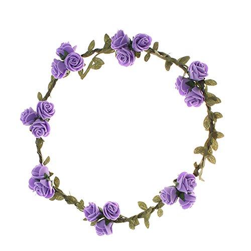 Blumenstirnband Kopfband Kranz von Rosen Braut Brautjungfer Haarschmuck Blumen (lila)