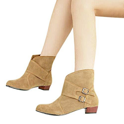TianWlio Boots Stiefel Schuhe Stiefeletten Frauen Herbst Winter Schnalle Runde Spitze Schuhe quadratische Absätze Stiefel Stiefeletten Boots Weihnachten Beige 40