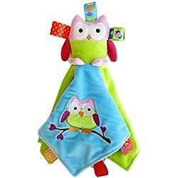 INCHANT del bebé de las muchachas colorida manta de seguridad búho de tela juguete del sueño consolador Ayuda para los bebés