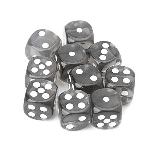 Lergo 10 Stück sechsseitige Würfel 15 mm transparent Cube runde Ecken tragbare Tischspiele, Schwarz