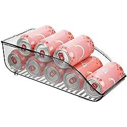 mDesign boite alimentaire pour réfrigérateur et armoire de cuisine – bac alimentaire parfait pour neuf canettes – rangement frigo pratique – gris fumé
