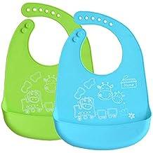 INCHANT silicona resistente al agua babero Toallitas limpiar fácilmente! Cómodas para bebés baberos suaves mantienen manchas Off! Pase menos tiempo de ...