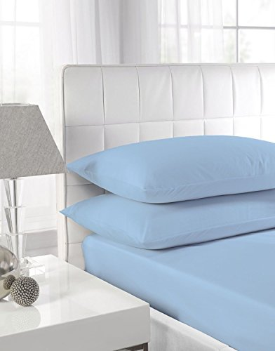 NI Luxury Bedding Non Iron Extra Deep Fitted Bed Sheets 40CM Single, Double, King, Super King Size (Pillow Covers, Sky Blue)