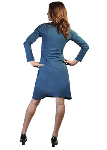 Ladies Long Sleeved Colorful Dress with Patch Design-Gumball (LMN-4064-S)