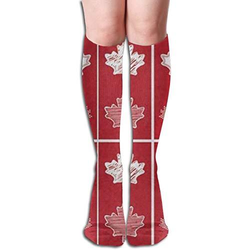 ghkfgkfgk Kanadische Flagge Kanada Maple Leaf (2) Muster 19,7 Zoll Compression Socks Hohe Stiefel Strümpfe Langer Schlauch Für Yoga Walking Für Frauen Mann