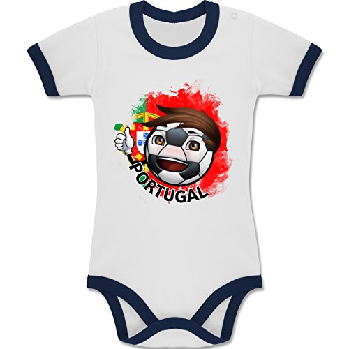 Navy Fußball-maskottchen (Shirtracer Fußball-WM 2018 Russland - Babys - Fußballjunge Portugal - 3-6 Monate - Weiß/Navy Blau - BZ19 - Zweifarbiger Baby Strampler für Jungen und Mädchen)