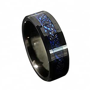 Queenwish hochzeits ring 8mm schwarz drache blau - Verlobungsring blau ...