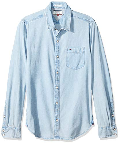 Tommy jeans uomo classic denim  camicia maniche lunghe  blu (saunby light rigid 911) medium