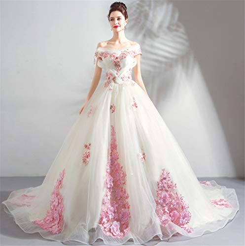 ELEGENCE-Z Hochzeitskleid, Europa und Amerika hochwertige Organza luxuriöse Spitze Blume Verschönerung trägerlosen Riemen großen Schwanz Hochzeitskleid - Seide Trägerlosen Brautkleid