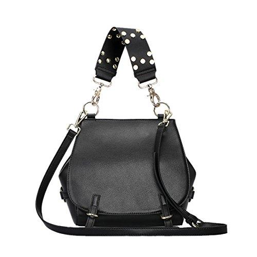 Dissa Q0815 Damen Leder Handtaschen Satchel Tote Taschen Schultertaschen Schwarz