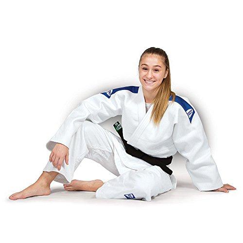 Judogi green hill semi competition advanced 630g/m2 judo gi kimono bianco blu (150 large fit, bianco banda blu)