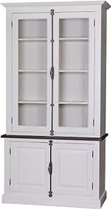 Buffet vaisselier 2 portes crémone pin massif blanc