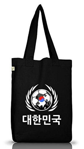 Wappen Fussball WM Fanfest Gruppen Jutebeutel Stoffbeutel Earth Positive Fußball Korea Black