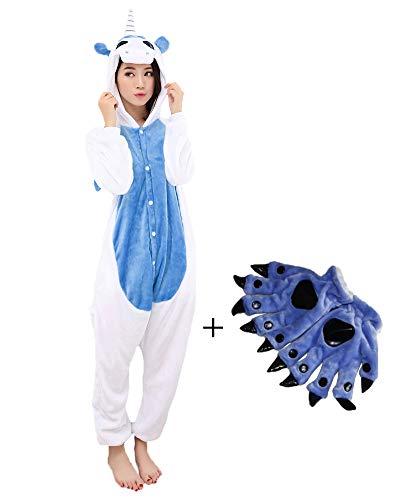 (Pyjamas PlüschkostümJumpsuit Kostüm Tier Schlafanzug Cosplay Karneval Fasching (L: für Höhe 168-177, Dunkelblau))