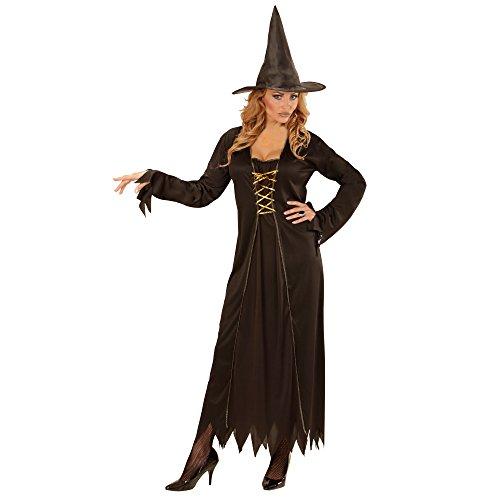 Widmann 00431 - Erwachsenenkostüm Hexe, Kleid mit Hexenhut, Gröߟe S, schwarz