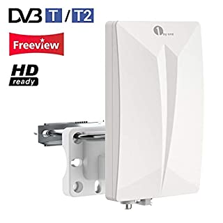 1byone Indoor/Outdoor TV Antenna, Digital TV Aerial for HDTV/DVB-T Receiver, VHF/UHF/FM, Digital Freeview and Analog TV Signals, SMD Circuit Technology, Anti-UV Coating, Waterproof and Compact Design