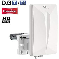 Antenne TNT Extérieure Intérieure 1byone pour Réception DVB-T T2, VHF/UHF/FM Signaux Analogues TV, Filtre 4G LTE, Revêtement Anti-UV