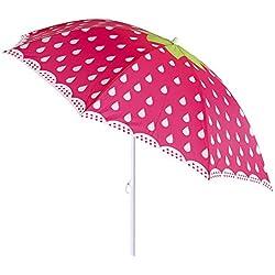 Parasol de plage de fraise en acier rose de 180cm garden-Lola Home
