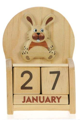 Bunny Rabbit Perpetual Calendar : Handcrafted Wood : Size 10.5x7x3.5cm : Top Christmas Gift Idea : Traditional Xmas Present & Novelty Stocking Filler For Children, Kids, Boys, Girls, Him, Her & Fun Loving Adults! : 50+ Garden Bird, Animal & Transport Designs