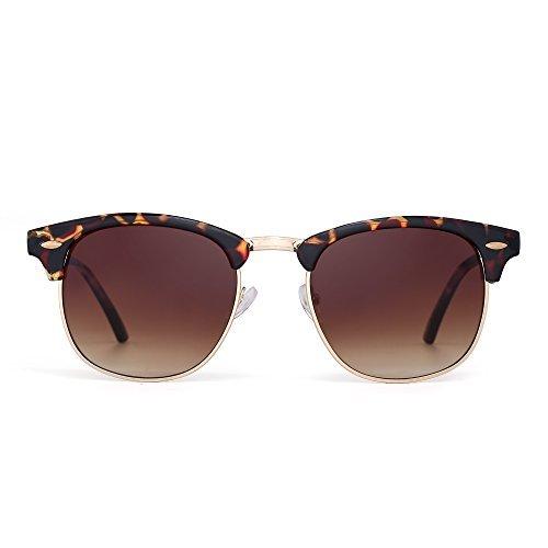 JM Retro Sonnenbrille Halb Randlos Browline Brillen Zum Dame Herre Verlaufsglas Linsen UV400(Schildkröte/Verlaufsglas Braun)