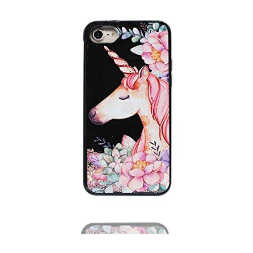 iPhone 7 Plus Custodia, iPhone 7 Plus Copertura 5.5, Glitter dinamico fluido Fantasy Shiny Case Cover Glitter trasparente in plastica 3D Glitter - unicorno unicorn # # 4