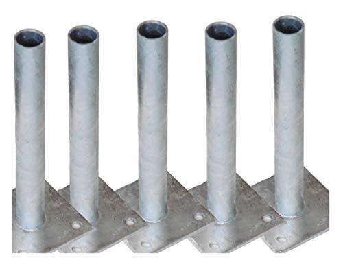 5 Pfostenträger Pfostenhalter Pfostenhülsen für Ø 34 mm Rundpfosten Maschendraht Zaun-pfosten zum schauben anschrauben dübeln aufdübeln auf festen Untergrund wie Beton oder Mauer