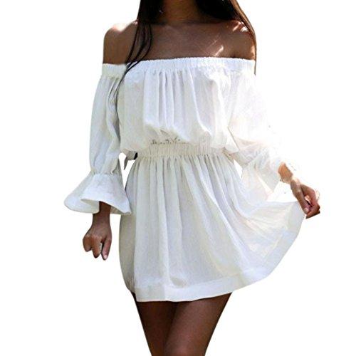 Minetom-Donne-Estivi-Eleganti-Camicia-Vestito-Corto-Di-Colore-Solido-Senza-Spalline-Maniche-34-Vestiti-Di-Parola-Abito-Da-Moda-Casual-Partito-Mini-Dress-Bianco-IT-42