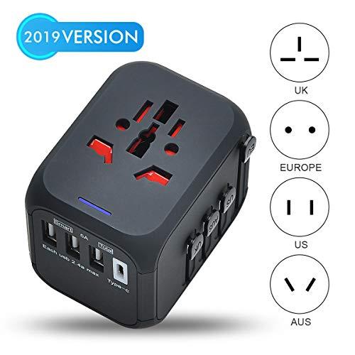 Lychee Reisestecker/Reiseadapter Universal,Weltweit Reisestecker 3 USB ladestecker + 1 TYPC Adapter + AC Ladegerät Steckdosenadapter für USA, UK, EU, AU und 170 Länder (Schwarz)