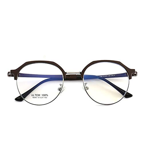 Yangjing-hl Männer und Frauen leichte Wolframkohlenstoffstahl runden Rahmen Retro Brillengestell Brillengestell Tee Silberrahmen