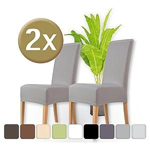 ENTSPANNO Luxus Stretch Stuhlhussen In Grau | 2 Stück Packung | Elastischer  Bezug Für Stuhl Und