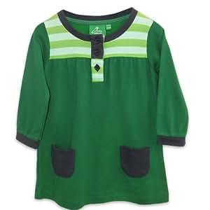 Little Green Radicals organic Fairtrade cotton Moss Green Dress  (Green, 0-6 Months)