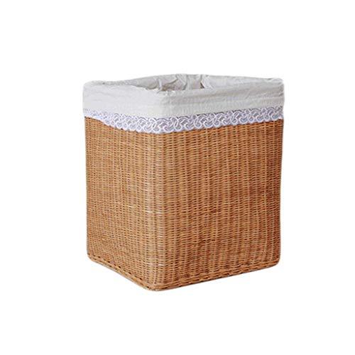 ZHAOSHUNLI Panier à linge Panier de rangement panier de rangement en bambou en rotin tressé doublé de grands vêtements de stockage de jouets (Couleur : Le jaune)