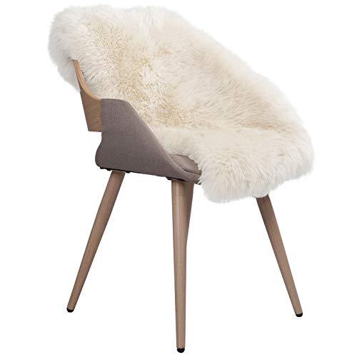 WOLTU TP3508ws-L Öko Lammfell Schaffell Teppich Bettvorleger Sofa Matte echtes Naturfell Longhair Weiß 90-100cm (Schaffell-teppich)