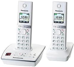 Panasonic KX-TG8062GW Telefon schnurlos mit Anrufbeantworter (2 Mobilteile) weiß