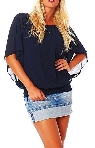 malito more than fashion Damen Bluse im Fledermaus Look | Tunika mit Rundhals und breitem Bund | Blusenshirt Kurzarm | Elegant - Shirt 6296 (dunkelblau)