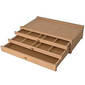 boite de rangement en bois pour materiel de peinture 3 tiroirs cuisine maison. Black Bedroom Furniture Sets. Home Design Ideas
