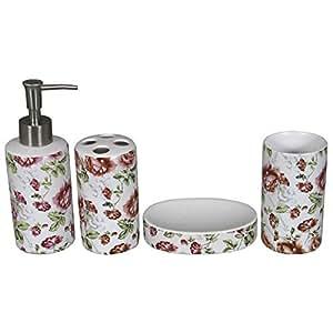 Decorazione set 4 accessori bagno in ceramica modello rosa - Accessori bagno amazon ...
