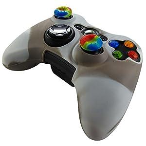 Pandaren® Silikon hülle skin für Xbox 360 controller (braun + weiß) x 1 + thumb grip aufsätze x 2