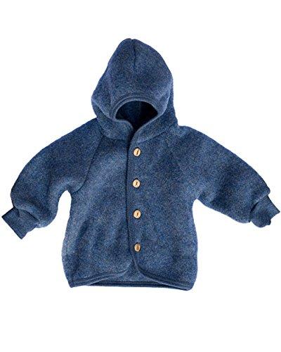 Engel Kapuzenjacke - blau melange - 50/56 (Baby-wolle-kleidung)