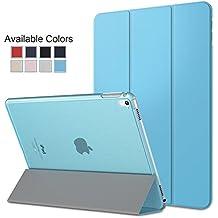 Cubierta (funda) protectora ultra delgada y liviana con protector trasero translúcido esmerilado iPad Air 2 A1566 A1567 Azul Claro. MMOBIEL