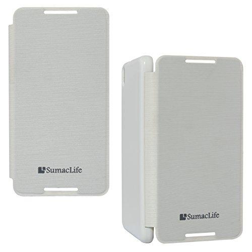 SumacLife Premium Flip Cover Case for HTC Desire 816G (White)