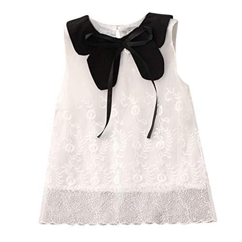 Livoral Mädchen Blume Spitze Bogen Puppe Kragen Prinzessin Kleid Kleinkind Kind Baby Party Schönheit Schönheit Tutu(Weiß,110)