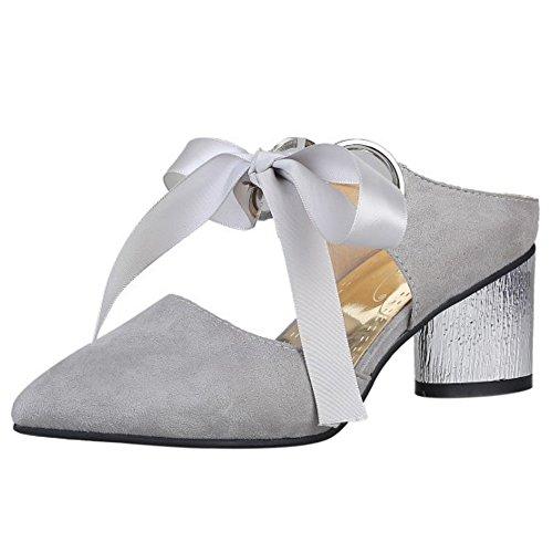 COOLCEPT Damen Mode Mitte Blockabsatz Mary Janes Sandalen Pantoletten Geschlossene Open Back Schuhe Grau