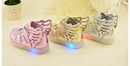 Fortuning's JDS Enfants unisexe Velcro LED filature Sneakers Chaussures lumineuses Chaussures coiffer aile éclairé clignotant Argent