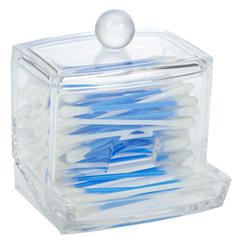 Fantasia Boîte en acrylique vide pour cotons-tiges 9 x 10 cm