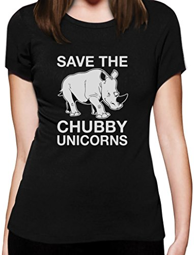 Lustiges Geschenk Save the Chubby Unicorn Damen T-Shirt Slim Fit Schwarz