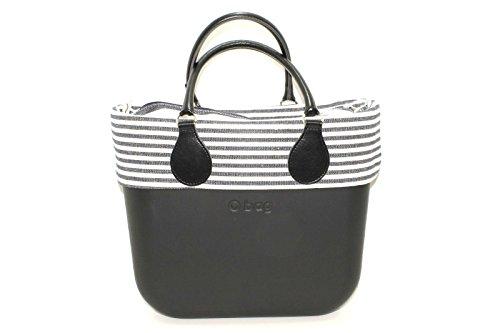 Borsa o bag mini nera con sacca e bordo righe bicolor e manico corto nero new collection (k)