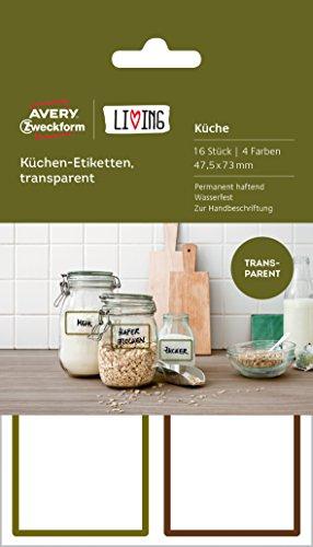 AVERY Zweckform 62003 Living Küchen Etiketten (47.5 x 73 mm, 4 Farben) 16 Stück transparent